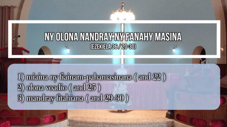 NY OLONA NANDRAY NY FANAHY MASINA